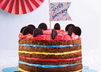 עוגת שכבות אוראו צבעונית ומרשימה ליום הולדת